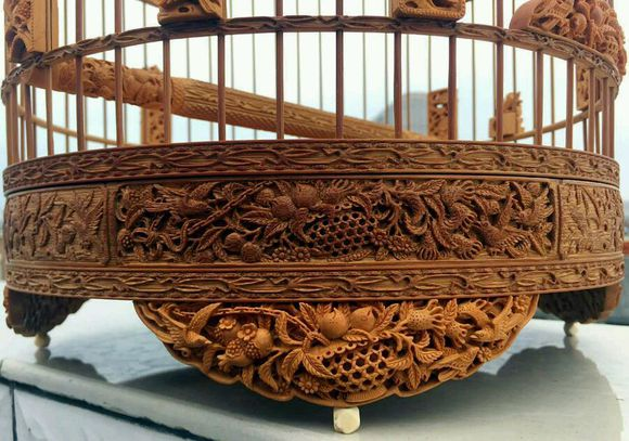 An exquisite Chinese bird cage with woodcarving -1