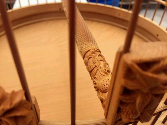An exquisite Chinese bird cage with woodcarving -3